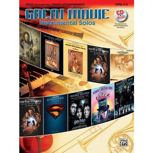 ALFRED PUBLISHING GREAT MOVIE INSTRUMENTAL SOLOS + CD - CELLO AND PIANO