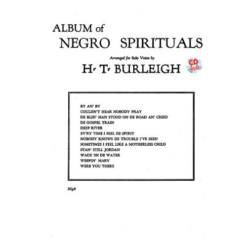 ALFRED PUBLISHING BURLEIGH HARRY - ALBUM OF NEGRO SPIRITUALS + CD - HIGH VOICE AND PIANO