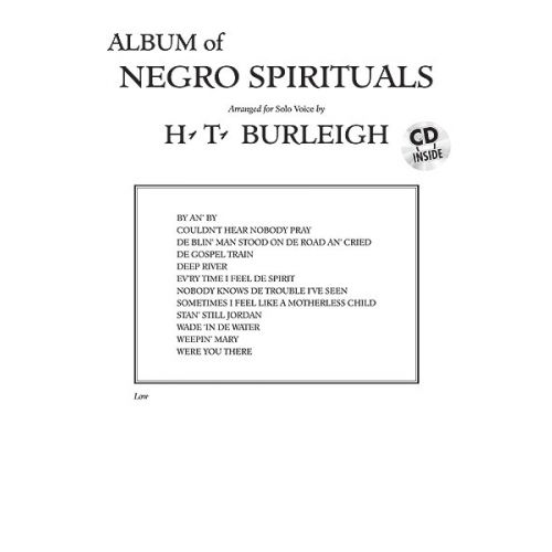 ALFRED PUBLISHING BURLEIGH HARRY - ALBUM OF NEGRO SPIRITUALS + CD - LOW VOICE AND PIANO