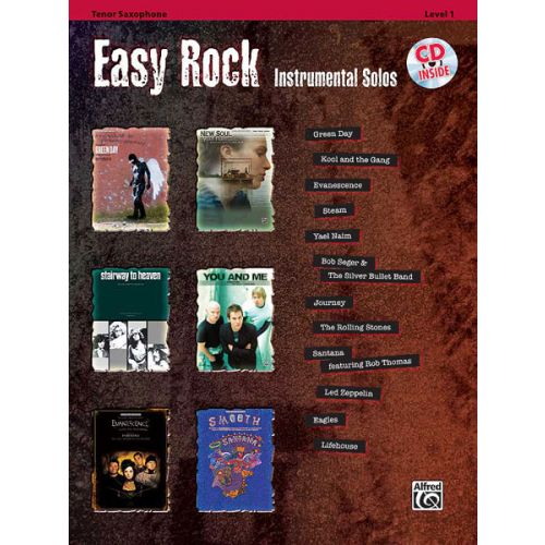 ALFRED PUBLISHING EASY ROCK INSTRUMENTALS + CD - SAXOPHONE AND PIANO
