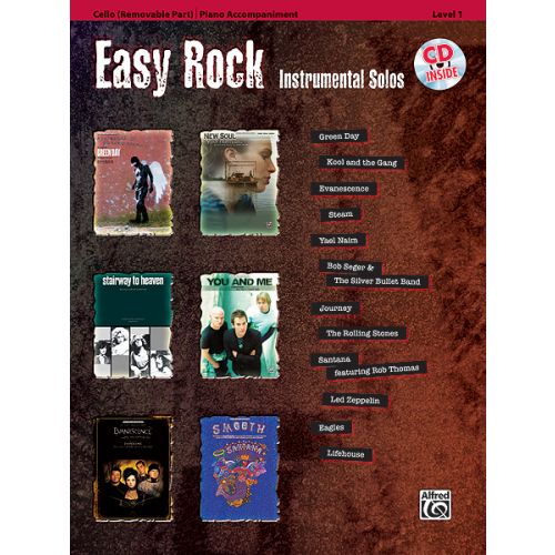 ALFRED PUBLISHING EASY ROCK INSTRUMENTALS + CD - CELLO SOLO