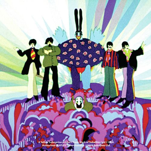 WOODBRASS CLUB SOUS-VERRE BEATLES MOTIF: YELLOW SUBMARINE THE END - ONESIZE