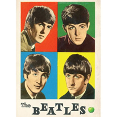 WOODBRASS CLUB MAGNET AIMANT BEATLES MOTIF: FOUR COLOURS - 7,6 CM X 7,6 CM