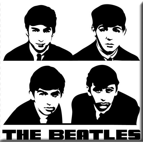 WOODBRASS CLUB MAGNET AIMANT BEATLES MOTIF: PORTRAIT - 7,6 CM X 7,6 CM