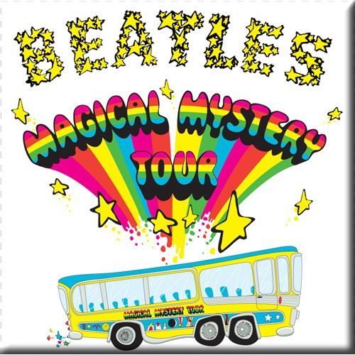 WOODBRASS CLUB MAGNET AIMANT BEATLES MOTIF: MAGICAL MYSTERY TOUR - 7,6 CM X 7,6 CM