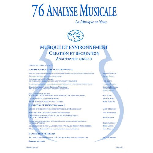 REVUE ANALYSE MUSICALE ANALYSE MUSICALE N°76 - ANNIVERSAIRE 2015