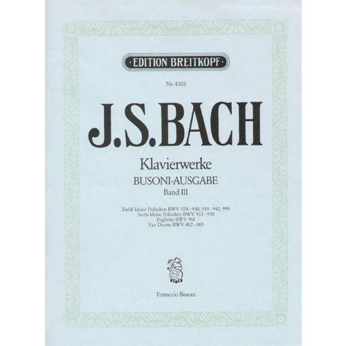 EDITION BREITKOPF BACH JOHANN SEBASTIAN - KLEINE PRALUDIEN - PIANO