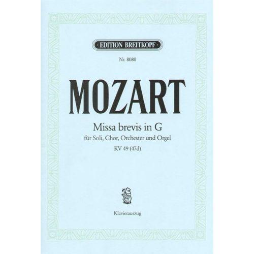 EDITION BREITKOPF MOZART W.A. - MISSA BREVIS IN G KV 49 (47D)