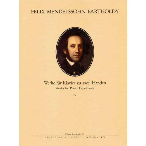 EDITION BREITKOPF MENDELSSOHN-BARTHOLDY F. - SAMTLICHE KLAVIERWERKE, BAND 4 - PIANO