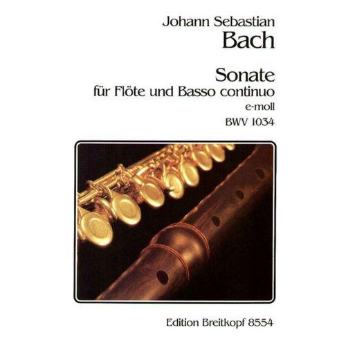 EDITION BREITKOPF BACH J.S. - SONATE E-MOLL BWV 1034 - FLUTE, BASSE CONTINUE
