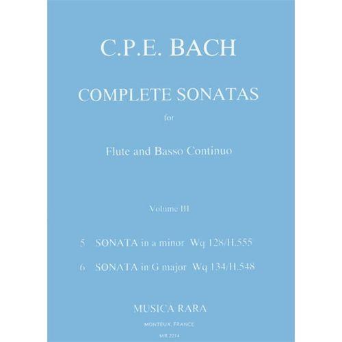 MUSICA RARA BACH CARL PHILIPP EMANUEL - SONATEN, BAND 3 WQ 128,134 - FLUTE, BASSO CONTINUO