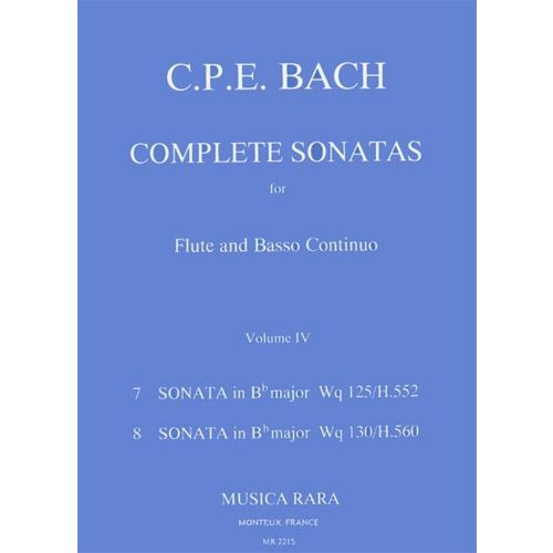 MUSICA RARA BACH CARL PHILIPP EMANUEL - SONATEN, BAND 4 WQ 125,130 - FLUTE, BASSO CONTINUO