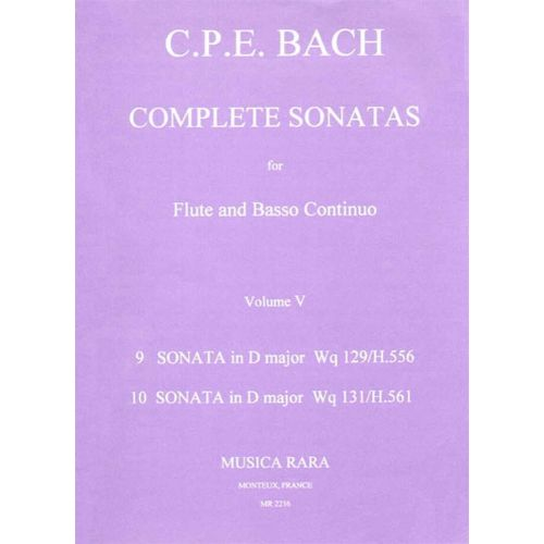 MUSICA RARA BACH CARL PHILIPP EMANUEL - SONATEN, BAND 5 WQ 129,131 - FLUTE, BASSO CONTINUO