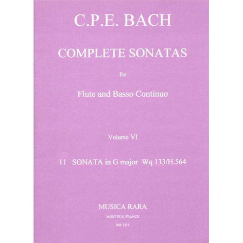 MUSICA RARA BACH CARL PHILIPP EMANUEL - SONATEN, BAND 6 WQ 133 - FLUTE, BASSO CONTINUO