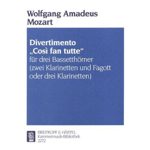 EDITION BREITKOPF MOZART WOLFGANG AMADEUS - DIVERTIMENTO COSI FAN TUTTE - 3 BASS HORN