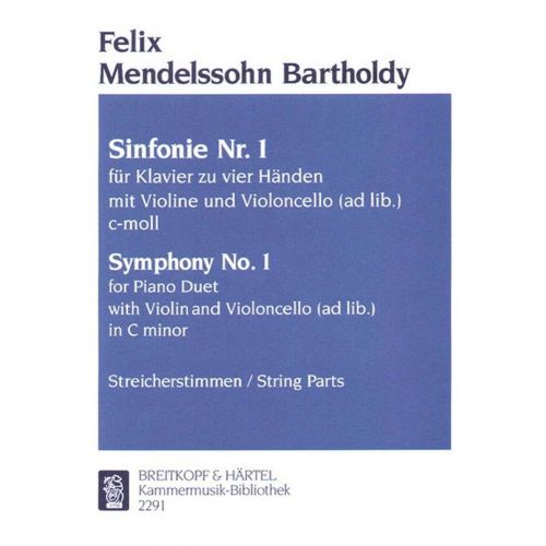 EDITION BREITKOPF MENDELSSOHN-BARTHOLDY F. - SINFONIE NR. 1 OP. 11 - 2 PIANO, VIOLIN, CELLO