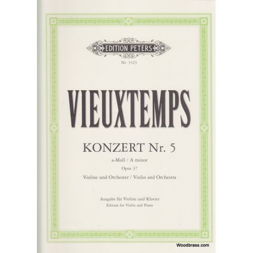 EDITION PETERS VIEUXTEMPS HENRI - CONCERTO NO.5 IN A MINOR OP.37 - VIOLIN AND PIANO
