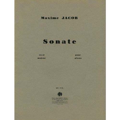 JOBERT JACOB MAXIME - SONATE EN SI MAJEUR - PIANO