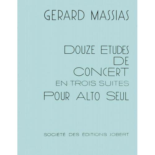 JOBERT MASSIAS GERARD - ETUDES DE CONCERT EN TROIS SUITES (12) - ALTO SOLO