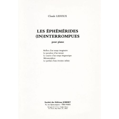 JOBERT LEDOUX CLAUDE - LES EPHEMERIDES INTERROMPUS - PIANO