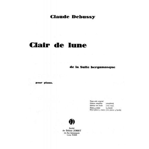 JOBERT DEBUSSY C. - CLAIR DE LUNE - PIANO 4 MAINS