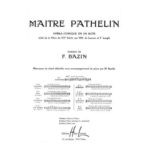 LEMOINE BAZIN FRANCOIS - MAITRE PATHELIN N°5 ROMANCE - VOIX, PIANO