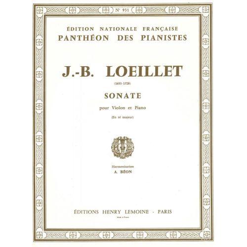 LEMOINE LOEILLET J.B. - SONATE RE MAJ. - VIOLON, PIANO