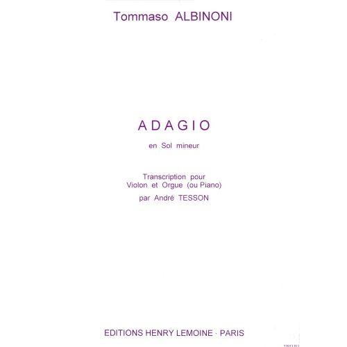 LEMOINE ALBINONI TOMASO - ADAGIO - VIOLON, PIANO