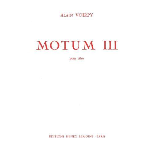 LEMOINE VOIRPY ALAIN - MOTUM III - SAXOPHONE ALTO SOLO