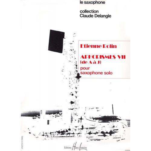 LEMOINE ROLIN ETIENNE - APHORISMES VII (A À J) - SAXOPHONE