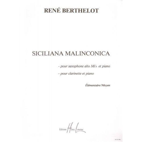 LEMOINE BERTHELOT RENE - SICILIANA MALINCONICA - SAXOPHONE MIB OU CLARINETTE, PIANO