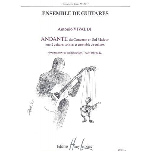 LEMOINE VIVALDI ANTONIO - ANDANTE DU CONCERTO EN SOL MAJ. - 5 GUITARES