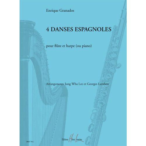 LEMOINE GRANADOS ENRIQUE - DANSES ESPAGNOLES (4) - FLUTE, HARPE (OU PIANO)