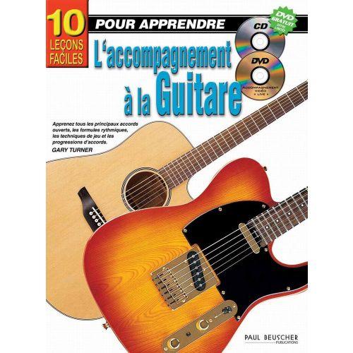 PAUL BEUSCHER PUBLICATIONS TURNER GARY - LEEONS FACILES POUR APPRENDRE L'ACCOMPAGNEMENT A LA GUITARE (10) + CD - GUITARE
