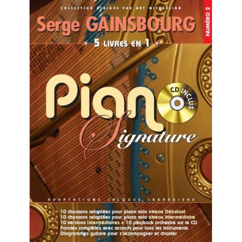 BOOKMAKERS INTERNATIONAL GAINSBOURG SERGE - PIANO SIGNATURE + CD - PVG
