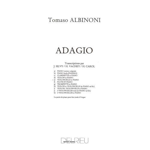 EDITION DELRIEU ALBINONI TOMASO - ADAGIO - VIOLONCELLE, PIANO