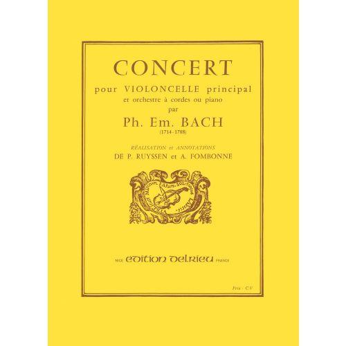 EDITION DELRIEU BACH C.P.E. - CONCERT EN UT MAJ. - VIOLONCELLE, PIANO