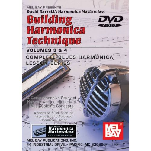 MEL BAY BARRETT DAVID - BUILDING HARMONICA TECHNIQUE VOLUME 3 AND 4 - HARMONICA
