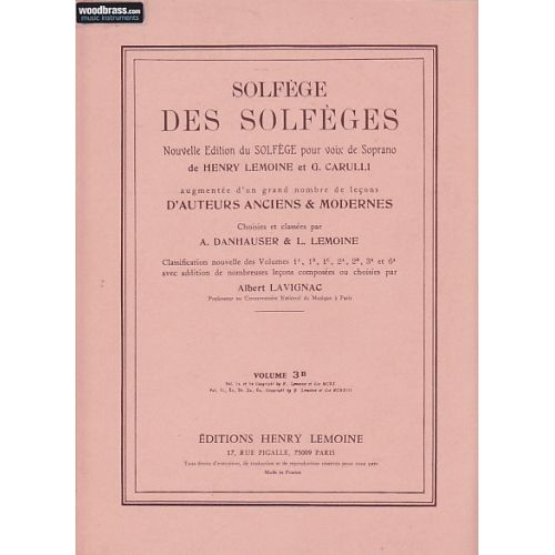 LEMOINE LAVIGNAC ALBERT - SOLFEGE DES SOLFEGES VOL.3B AVEC ACCOMPAGNEMENT