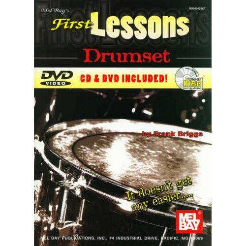 MEL BAY BRIGGS FRANK - FIRST LESSONS DRUMSET + CD + DVD - DRUM SET