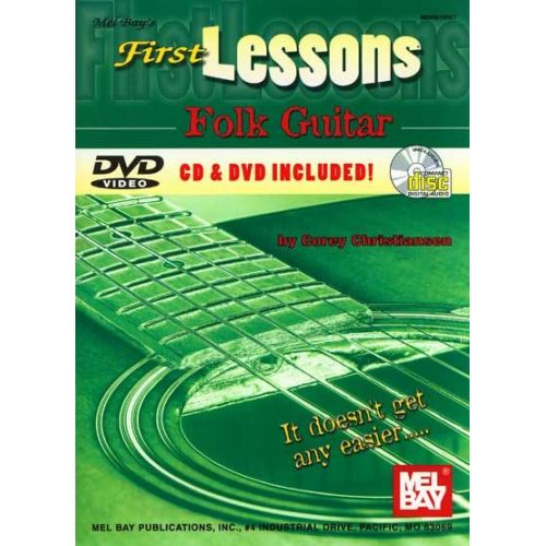 MEL BAY CHRISTIANSEN CORY - FIRST LESSONS FOLK GUITAR + CD + DVD - GUITAR
