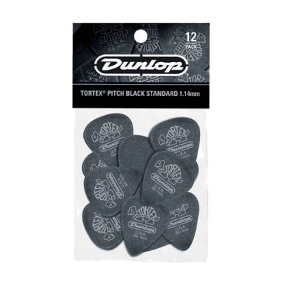 DUNLOP ADU 488P114 - TORTEX PITCH BLACK PLAYERS PACK - 1,14 MM (BY 12)