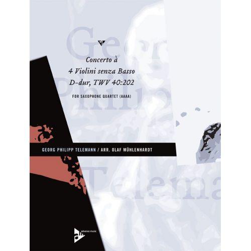 ADVANCE MUSIC TELEMANN G.P. - CONCERTO À 4 VIOLINI SENZA BASSO TWV 40:202 - 4 ALTO SAXOPHONES