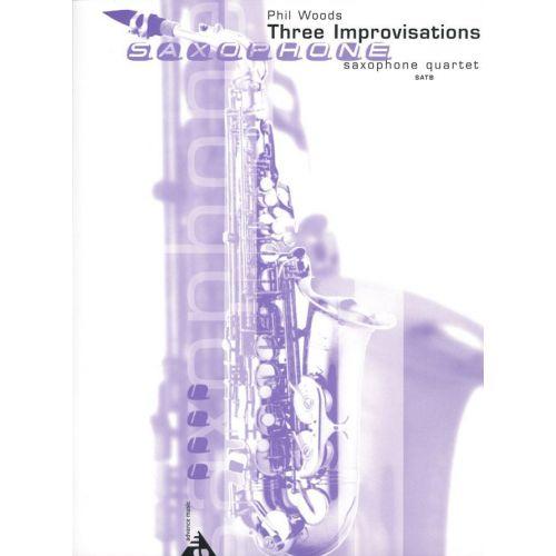 ADVANCE MUSIC WOODS P. - THREE IMPROVISATIONS - 4 SAXOPHONES (SATB)