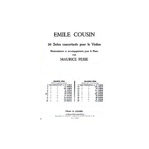 COMBRE COUSIN EMILE - SOLO CONCERTANT N.6 EN UT MAJ. - VIOLON ET PIANO