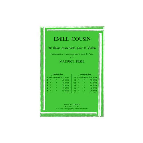 COMBRE COUSIN EMILE - SOLO CONCERTANT N.14 EN SIB MAJ. - VIOLON ET PIANO