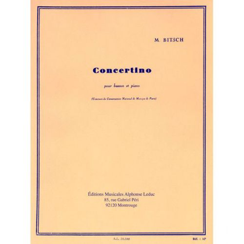 LEDUC BITSCH M. - CONCERTINO - BASSON ET PIANO