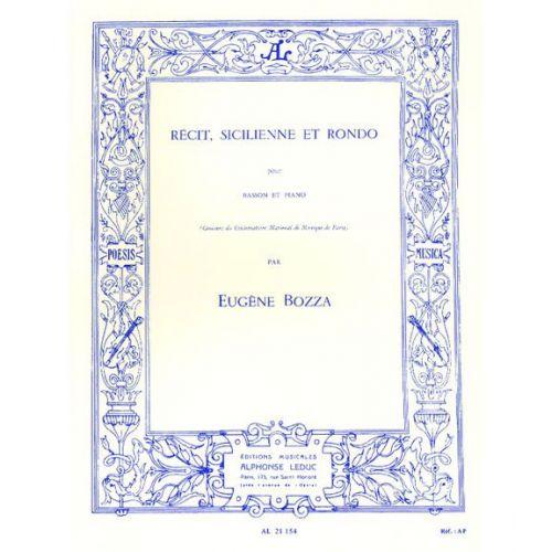 ZEPHIR BOZZA E. - RECIT, SICILIENNE ET RONDO - BASSON ET PIANO