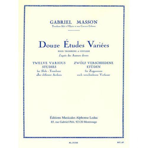 LEDUC MASSON G. - 12 ETUDES VARIEES - TROMBONE