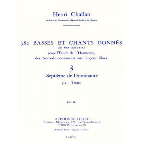 LEDUC CHALLAN H. - 380 BASSES ET CHANTS DONNES VOL. 3